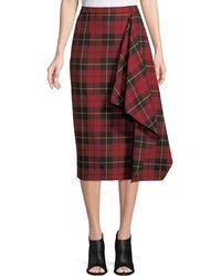 Michael Kors - Asymmetric Plaid Virgin Wool Pencil Skirt - Lyst