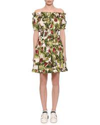 0ee13015 Dolce & Gabbana - Off-the-shoulder Ruffle Fig-print Dress - Lyst