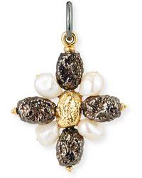Grazia And Marica Vozza - Black Silver Cross Nugget Charm With Pearls - Lyst