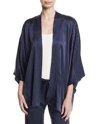 Chufy - Open-front Silk Satin Kimono Blouse - Lyst