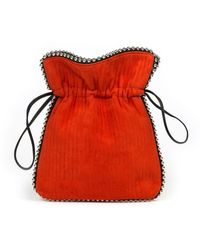 Les Petits Joueurs Trilly Beaded Suede Drawstring Pouch Bag - Orange