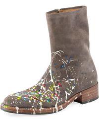 Maison Margiela - Tall Splatter Paint Suede Boot - Lyst