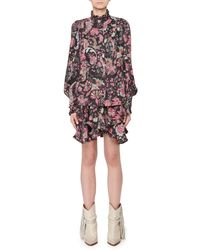 Isabel Marant - Stand-collar Long-sleeve Button-front Jacquard Top - Lyst