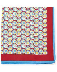 Kiton - Swirl Circles Silk Pocket Square - Lyst
