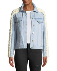 Tanya Taylor - Percy Denim Jacket With Cable-knit Trim - Lyst