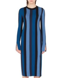 26e9e5540f56 Akris Punto - Long-sleeve Herringbone Stripe Merino Midi Dress - Lyst