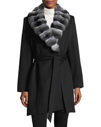 Sofia Cashmere - Chinchilla-trim Belted Cashmere Wrap Coat - Lyst
