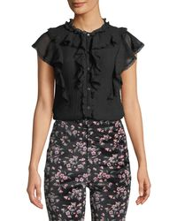 Rebecca Taylor - Silk Cotton Voile Ruffle Top - Lyst