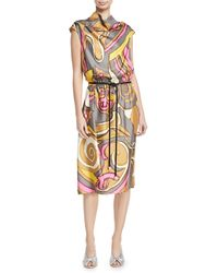 Marc Jacobs - Abstract-print Cowl-neck Dress - Lyst