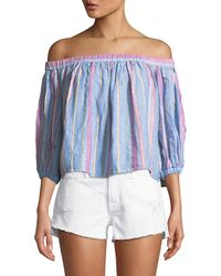 d1e9bb51341980 Lyst - Jonathan Simkhai Off-the-shoulder Geometric Burnout Top in White