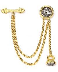 Ben-Amun - Double Chain Coin Brooch - Lyst
