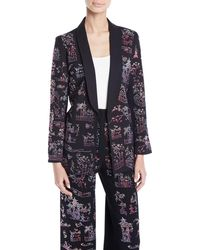 Libertine - Chinoiserie-crystal Tie-waist Wool Long Blazer - Lyst