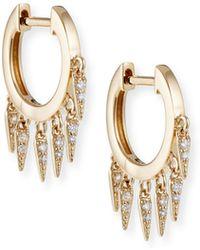 Sydney Evan - 14k Diamond Fringe Huggie Hoop Earrings - Lyst