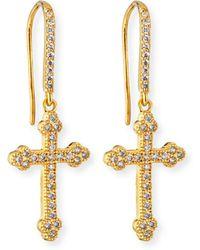 Fallon - Micro Crucifix Earrings - Lyst