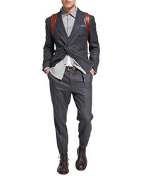 Brunello Cucinelli | Flannel Wool-silk-cashmere Double-breasted Two-piece Suit | Lyst