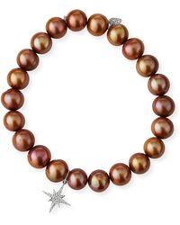 Sydney Evan - Champagne Pearl Bead Bracelet W/ 14k Starburst Charm - Lyst