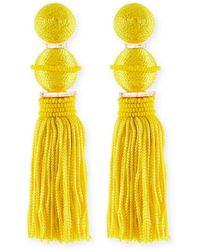 Oscar de la Renta - Beaded Ball Tassel Clip-on Earrings - Lyst