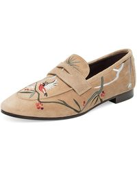 Bougeotte - Embroidered Suede Penny Loafer - Lyst