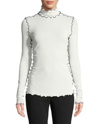 Proenza Schouler - Turtleneck Long-sleeve Wavy-topstitch Stretch Crepe Jersey Top - Lyst