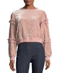 Cinq À Sept - Nara Embroidered Velvet Pullover Sweatshirt W/ Ruffled Trim - Lyst