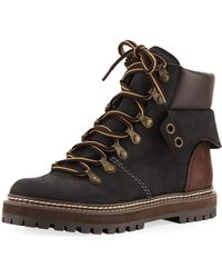 See By Chloé - Lace-up Mixed Leather Boot - Lyst