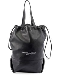 8678accee9e Saint Laurent Teddy Medium Canvas/leather Drawstring Shopping Tote ...