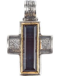 Konstantino - Men's Sterling Silver & 18k Gold Cross Pendant With Hawk's Eye - Lyst