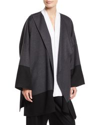 Eskandar - Draped-front Colorblocked Cashmere Coat - Lyst