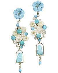 Of Rare Origin - Turquoise & Pearl Nester Earrings - Lyst