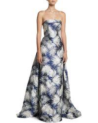Naeem Khan - Strapless Chrysanthemum Floral-print Column Evening Gown - Lyst