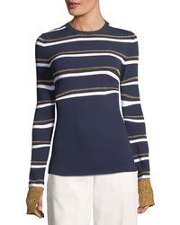 Cedric Charlier - Metallic Stripe Crewneck Sweater - Lyst