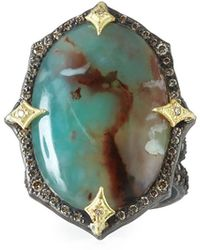 Armenta - Old World Aquaprase Oval Cabochon Ring With Diamonds - Lyst
