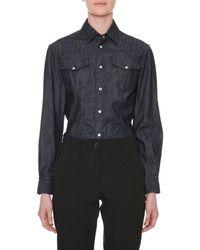 71b2bcb85a Tomas Maier - Long-sleeve Button-down Denim Shirt - Lyst