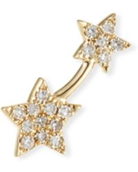 EF Collection - 14k Gold Diamond Double-star Single Earring (left) - Lyst