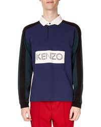 KENZO - Men's Colorblock Long-sleeve Rugby Polo Shirt - Lyst