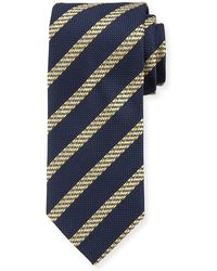 Brioni - Cable-stripe Silk Tie - Lyst
