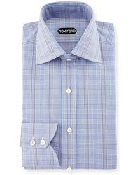 Tom Ford - Bicolor Subtle Overcheck Slim-fit Shirt - Lyst