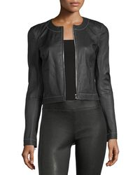 Elizabeth and James - Helen Zip-front Fitted Leather Jacket With Contrast Stitching - Lyst