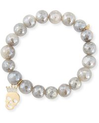 Sydney Evan - 10mm Mystic Gray Moonstone Bracelet With Diamond Skull Charm - Lyst