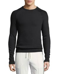 Vince | Diagonal-stitch Crewneck Sweater | Lyst
