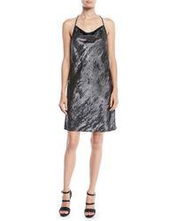 Halston - Drape-back Metallic Georgette Slip Dress - Lyst