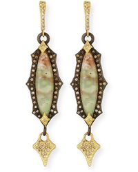 Armenta - Old World Scalloped Aquaprase Cabochon Earrings With Diamonds - Lyst