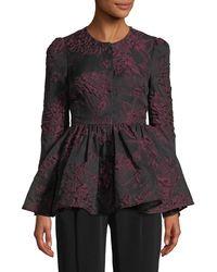 Co. - Floral-jacquard Llarless Peplum Jacket - Lyst