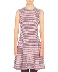 Akris Punto - Round-neck Sleeveless Fit-and-flare Houndstooth Knit Dress - Lyst