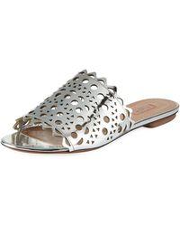 8d56117608af Lyst - Jimmy Choo Kaye Crystal Laser-cut Flat Sandal in Metallic