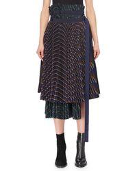 Sacai - Mixed Pinstripe Pleated Midi Wrap Skirt - Lyst