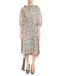 Balenciaga - Cinched Kaftan Dress With Cash And Leopard-print - Lyst