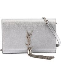 bdb50e349d6 Saint Laurent - Kate Monogram Ysl Small Crackled Metallic Tassel Wallet On  Chain - Silver Hardware