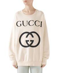 3c0d0eac8f22 Gucci - Heavy Felted Cotton Jersey Oversized Sweatshirt W/ Interlock GG  Print - Lyst