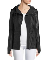 BLANC NOIR - Asymmetric Zip-front Faux-leather Moto Jacket - Lyst